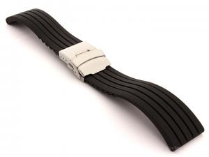 Silicone Watch Strap GS with Deployment Clasp Waterproof Black 18mm