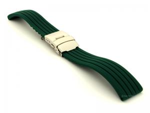 Silicone Watch Strap GS with Deployment Clasp Waterproof Dark Green 22mm