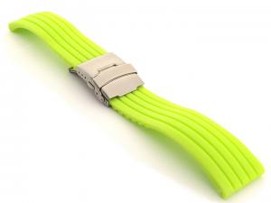 Silicone Watch Strap GS with Deployment Clasp Waterproof Green 24mm