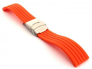 Silicone Watch Strap GS with Deployment Clasp Waterproof Orange 22mm