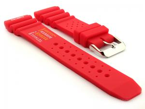 Citizen Seiko Style Silicone Watch Strap PRO Waterproof N.D.LIMITS Red 22mm