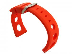Silicone Watch Strap SH Perforated, Waterproof Orange 20mm