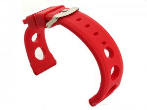Silicone Watch Strap SH Perforated, Waterproof Red 24mm
