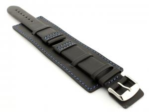 Leather Watch Strap with Wrist Cuff - Solar Black / Blue 24mm