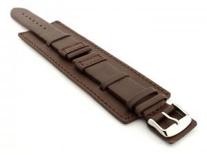 Leather Watch Strap with Wrist Cuff - Solar Dark Brown / Brown 20mm