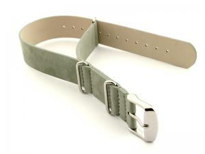 Suede Leather Nato Watch Strap Grey 02