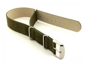Suede Leather Nato G10 Military Watch Strap Olive Green 24mm