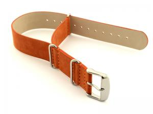 Suede Leather Nato G10 Military Watch Strap Orange 24mm
