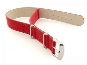 Suede Leather Nato G10 Military Watch Strap Red 20mm
