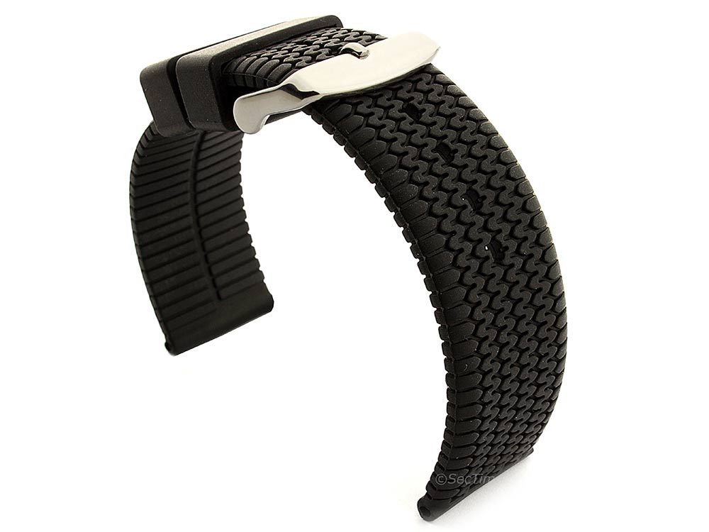 Silicone Watch Strap Summer Tread Waterproof Black 22mm