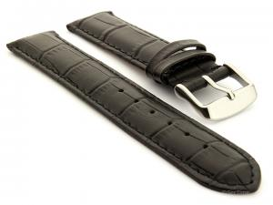 Genuine Leather Watch Strap Sydney Croco Black 21mm