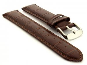 Genuine Leather Watch Strap Sydney Croco Dark Brown 21mm