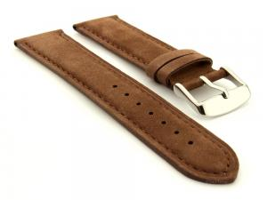 Suede Genuine Leather Watch Strap Teacher Cocoa 20mm