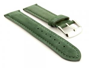 Suede Genuine Leather Watch Strap Teacher Green 22mm