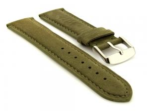 Suede Genuine Leather Watch Strap Teacher Olive Green 20mm