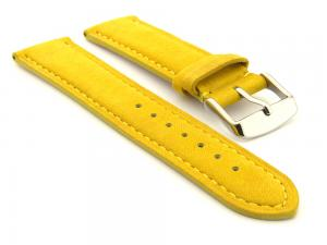 Suede Genuine Leather Watch Strap Teacher Yellow 18mm