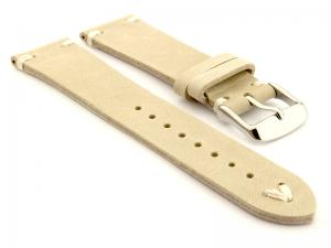 Genuine Leather Watch Strap in Oldfangled Style Texas Beige 19mm