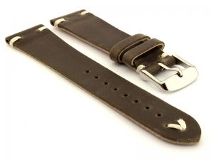 Genuine Leather Watch Strap in Oldfangled Style Texas Dark Brown 22mm
