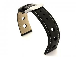 Rally Style Leather Watch Strap Twister Black / White 20mm