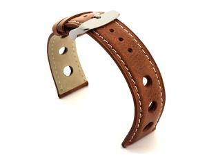 Rally Style Leather Watch Strap Twister Brown / White 20mm
