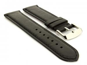 Flat Leather Watch Strap Black with Black Stitching Twister 01 02