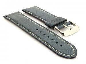 Leather Watch Strap Twister Blue / White 18mm