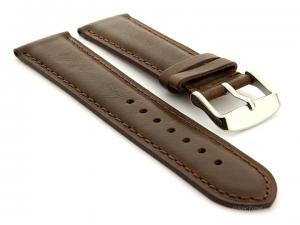 Leather Watch Strap Twister Dark Brown / Brown 22mm