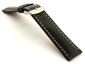 Cross Taiga Pattern Leather Watch Strap Vega Black / White 20mm