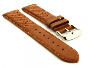 Elegant Cross Stitched Leather Watch Strap Vinci Brown 22mm
