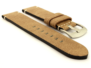 Genuine Leather Watch Strap Vintage Paris Beige 20mm