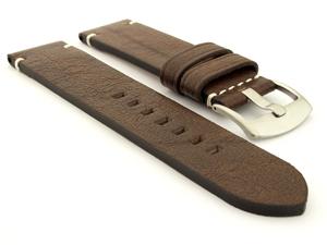 Genuine Leather Watch Strap Vintage Paris Dark Brown 22mm