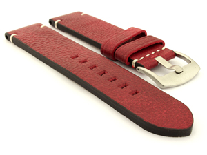 Genuine Leather Watch Strap Vintage Paris Red 22mm
