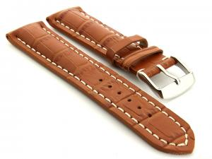 Leather Watch Strap VIP - Alligator Grain Brown 24mm