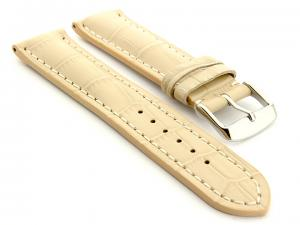Leather Watch Strap VIP - Alligator Grain Cream 18mm