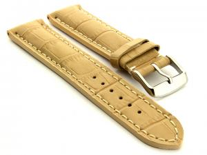 Leather Watch Strap VIP - Alligator Grain Dark Cream 18mm