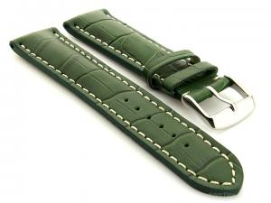 Leather Watch Strap VIP - Alligator Grain Green 22mm