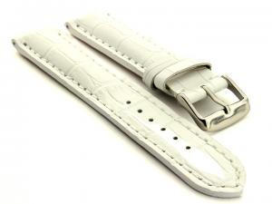 Leather Watch Strap VIP - Alligator Grain White 24mm