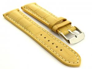 Leather Watch Strap VIP - Alligator Grain Yellow 18mm