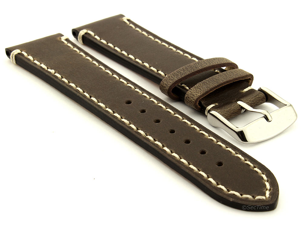 Genuine Leather Watch Strap Band Vito Dark Brown 01