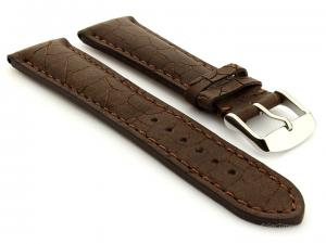 Cracked Leather Watch Strap Dark Brown with Brown Stitching Waterfall 02