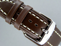 Leather MILITARY Watch Strap Dark Brown 20mm