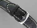 Genuine OSTRICH Skin Watch Strap Black 22mm