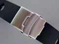 "Silicone Waterproof Watch Strap ""Holes"" Clasp Black 22mm"