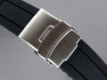 "Silicone Waterproof ""Rolling"" Watch Strap Clasp Black 18mm"