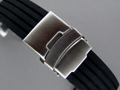 Silicone Waterproof Watch Strap Deployment Clasp Black 24mm
