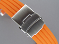 Silicone Waterproof Watch Strap Deployment Clasp Orange 18mm