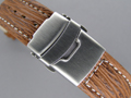 Genuine SHARK Skin Watch Strap Deployment Clasp Brown 24mm