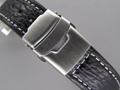 Genuine SHARK Skin Watch Strap Deployment Clasp Black 20mm