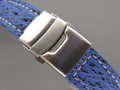 Genuine SHARK Skin Watch Strap Deployment Clasp Blue 18mm