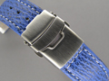 Genuine SHARK Skin Watch Strap Deployment Clasp Blue 24mm